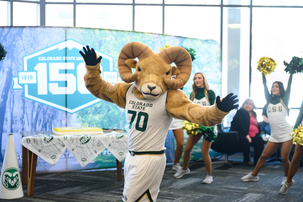 Cam the Ram Human mascot at CSU's 150th birthday party