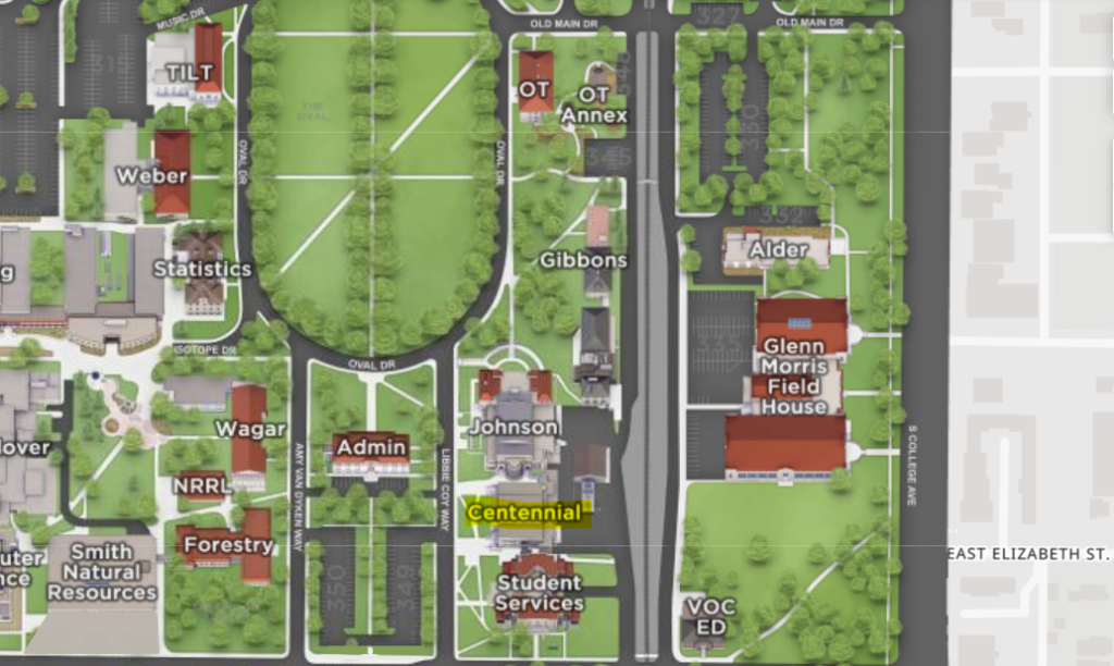 A map showing the location of Centennial Hall at 1000 Libbie Coy Way